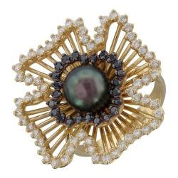 Женское кольцо Цветок из желтого золота c черным жемчугом, бриллиантом