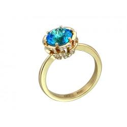 Женское кольцо из желтого золота c топазом Swiss, бриллиантом