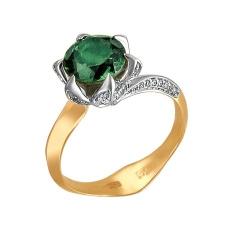 Женское кольцо из желтого золота c турмалином, бриллиантом