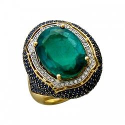 Женское кольцо из желтого золота c изумрудом