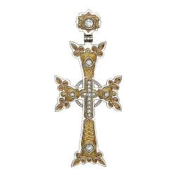 Мужской крестик из комбинированного золота c бриллиантом