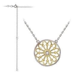 Колье Цветок из комбинированного золота c бриллиантом