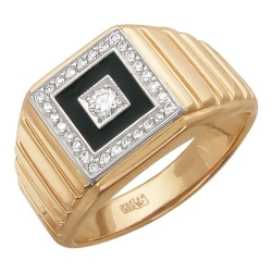 Мужское кольцо из комбинированного золота c бриллиантом, эмалью