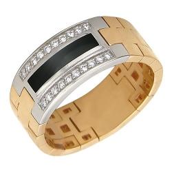 Мужское кольцо из комбинированного золота c ониксом, бриллиантом