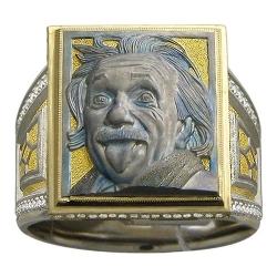 Мужское кольцо Энштейн из комбинированного золота c бриллиантом