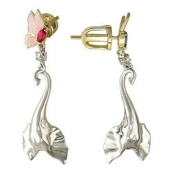 Золотые серьги со слонами и эмалью