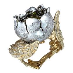 Женское кольцо Цветок из комбинированного золота c цитрином, бриллиантом
