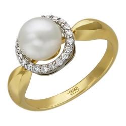 Женское кольцо из комбинированного золота c белым жемчугом, бриллиантом