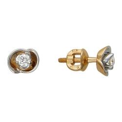Серьги-гвоздики из комбинированного золота c бриллиантом