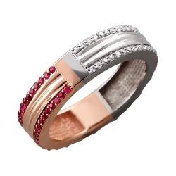 Женское кольцо из комбинированного золота c рубином, бриллиантом