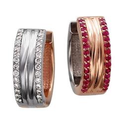 Серьги конго из комбинированного золота c рубином, бриллиантом
