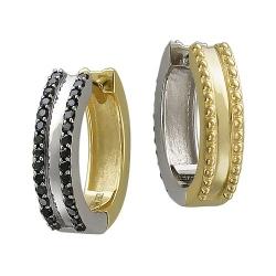 Серьги конго из комбинированного золота c бриллиантом