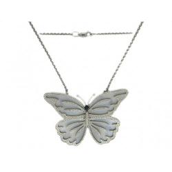 Колье Бабочка из белого золота c цветными камнями