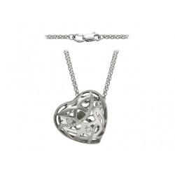 Колье Сердце из белого золота c бриллиантом
