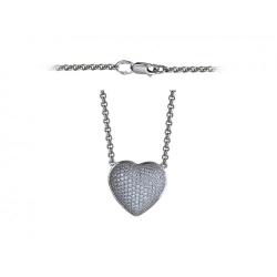 Колье в виде сердца из белого золота c бриллиантом
