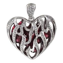 Подвеска в виде сердца из белого золота c рубином ГТ, бриллиантом