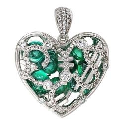 Подвеска в виде сердца из белого золота c бриллиантом, фианитом