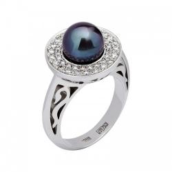 Женское кольцо из белого золота c черным жемчугом, бриллиантом
