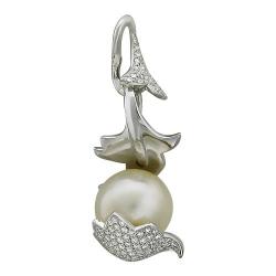 Подвеска из белого золота c белым жемчугом, бриллиантом