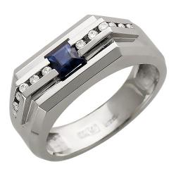 Мужское кольцо из белого золота c сапфиром, бриллиантом