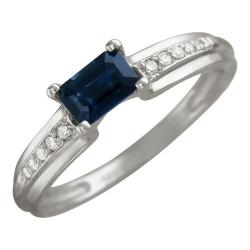 Женское кольцо из белого золота c сапфиром, бриллиантом