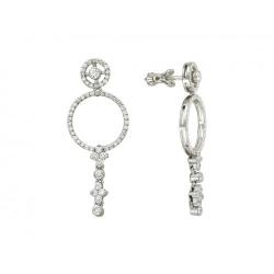 Серьги-гвоздики из белого золота c бриллиантом