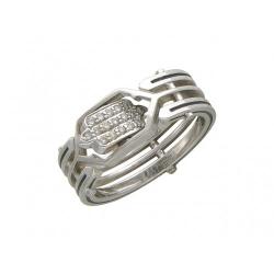 Мужское кольцо из белого золота c бриллиантом, эмалью