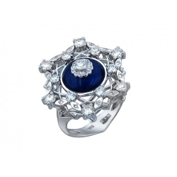 Женское кольцо Цветок из белого золота c эмалью, бриллиантом