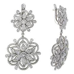 Серьги с цветами из белого золота c бриллиантом