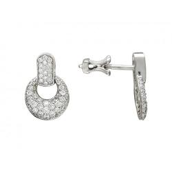 Серьги-гвоздики из белого золота c сапфиром, бриллиантом