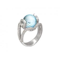 Женское кольцо из белого золота c топазом, бриллиантом