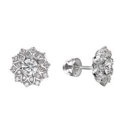 Серьги-гвоздики Цветы из белого золота c бриллиантом