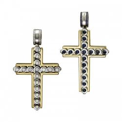 Мужской крестик из комбинированного золота c сапфиром, бриллиантом