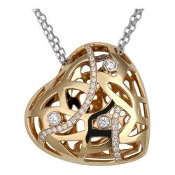 Колье в виде сердца из комбинированного золота c бриллиантом