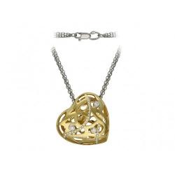 Колье Сердце из комбинированного золота c бриллиантом