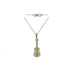 Колье Скрипка из комбинированного золота c бриллиантом