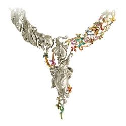 Колье из комбинированного золота c цветными камнями