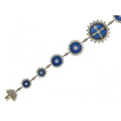 Декоративный браслет из комбинированного золота c эмалью, бриллиантом