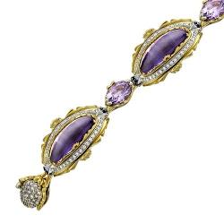 Декоративный браслет из комбинированного золота c цветными камнями