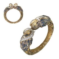 Жесткий Браслет из комбинированного золота c цветными камнями