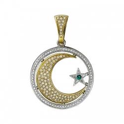 Мусульманская подвеска из комбинированного золота c изумрудом, бриллиантом