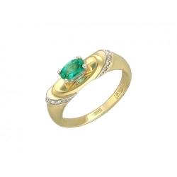 Женское кольцо из комбинированного золота c изумрудом, бриллиантом