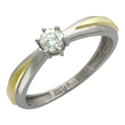 Женское кольцо из комбинированного золота c бриллиантом