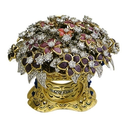 Женское кольцо Букет из комбинированного золота c эмалью, бриллиантом