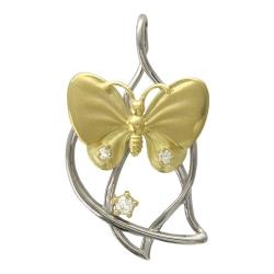 Подвеска Бабочка из комбинированного золота c бриллиантом