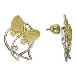 Серьги-гвоздики Бабочки из комбинированного золота c бриллиантом
