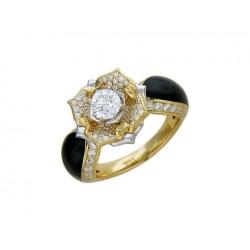 Женское кольцо из комбинированного золота c эмалью, бриллиантом