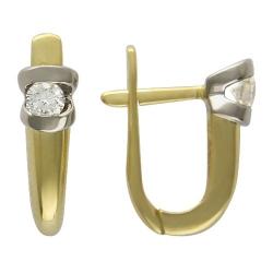 Серьги из комбинированного золота c бриллиантом