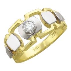Мужское кольцо из комбинированного золота c бриллиантом