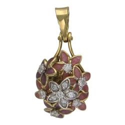Подвеска с цветами из комбинированного золота c эмалью, бриллиантом